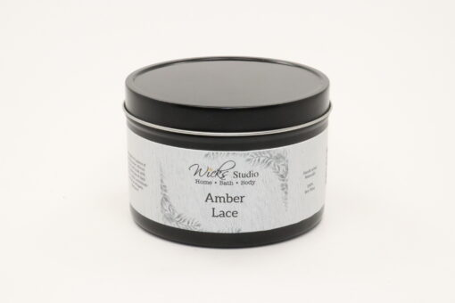 black tin candle amber lace 14oz