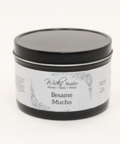 black tin candle besame mucho 14oz