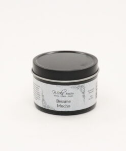 black tin candle besame mucho 4oz