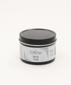 black tin candle black gold 4oz