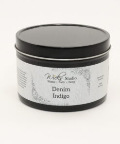black tin candle denim indigo 14oz
