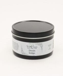 black tin candle denim indigo 8oz
