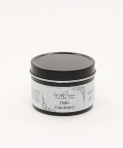 black tin candle hello handsome 4oz