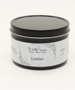 black tin candle leather 14oz