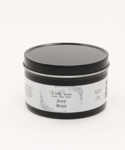 black tin candle sexy beast 8oz
